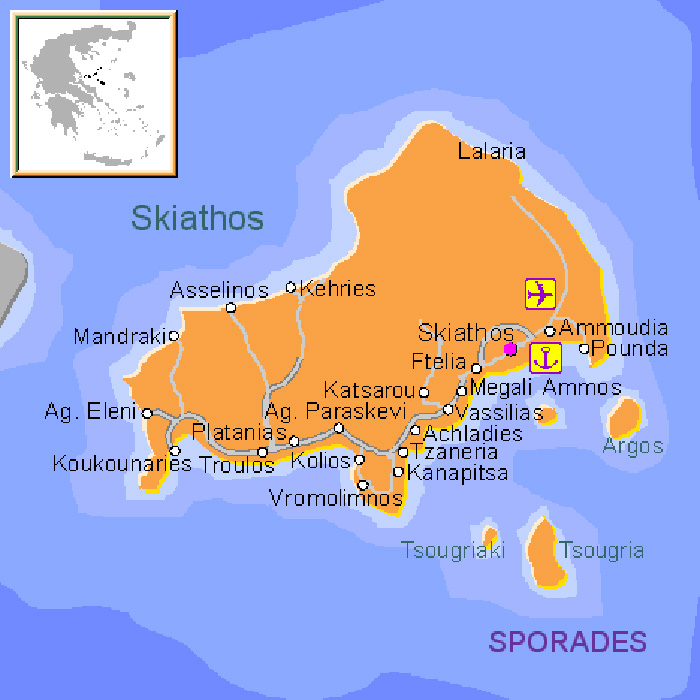 Map Of Skiathos Skiathos Map   Skiathos Island   Greece
